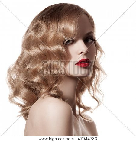 Beautiful Blond Woman. Curly Hair. White Background