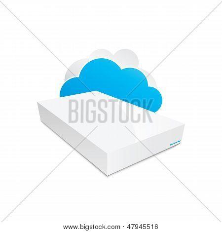 Wireless cloud storage NAS icon vector illustration