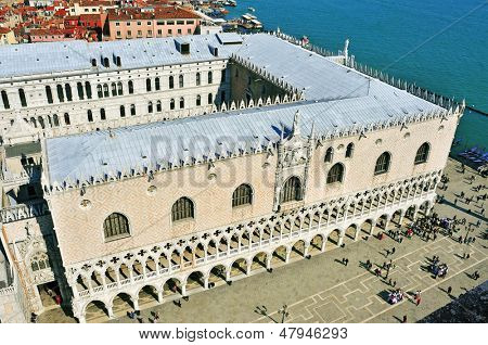 VENICE, ITALY - APRIL 12: Aerial view of Palazzo Ducale on April 12, 2013 in Venice, Italy. Formerly the residence of the Doge and now a museum, the palace is one of the main landmarks of the city