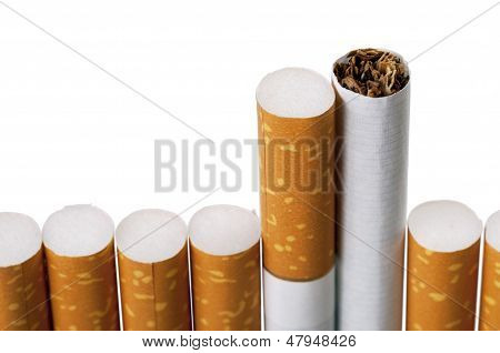 Cigarette On White Isolated