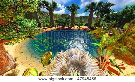 African savannah with lush and vibrant vegetation by the pool