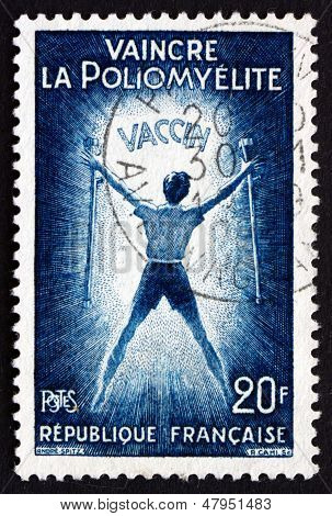 Postage Stamp France 1959 Polio Victim Holding Crutches