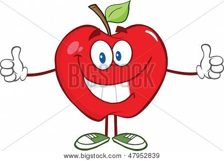 Red Apple Character Giving A Thumb Up