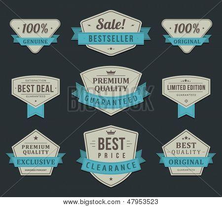 Vintage labels or badges and ribbon retro style set. Vector design elements.