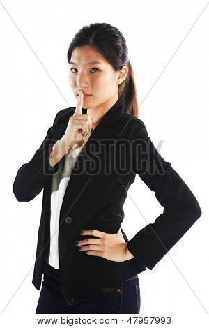 Asian Career Woman Keeping Quiet on Something
