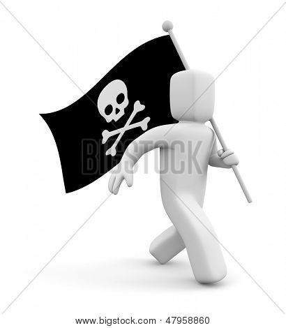 3d man with Jolly Roger flag