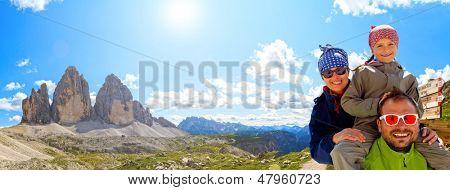 Hiking, Family on hike, Tre Cime di Lavaredo - Dolomite - Italy