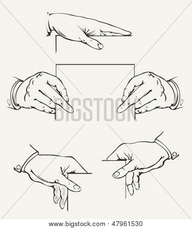 Set Of Hands. Vector Drawing.