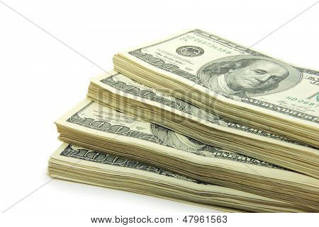 estoque de dinheiro isolado no fundo branco