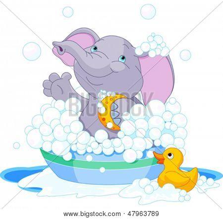 Very cute Elephant  having a soapy bath