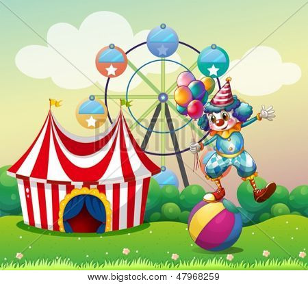 Illustration of a clown balancing above an inflatable ball at the carnival