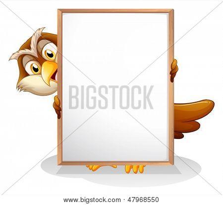 Ilustración de un búho sosteniendo un tablero vacío sobre un fondo blanco