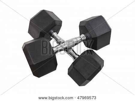 Twenty pound dumbbells isolated with clipping path.