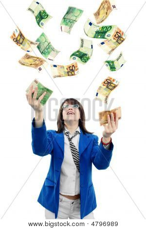Woman Catching Money