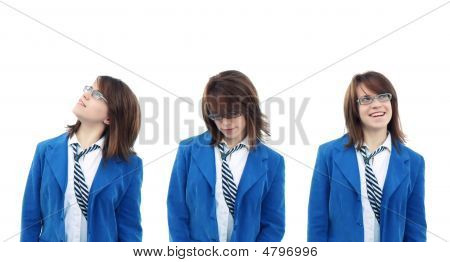 Three Views Of Business Woman