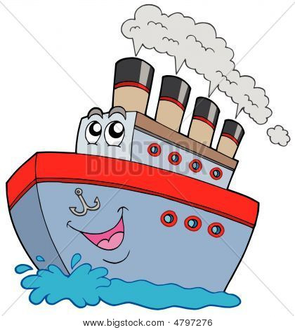 Cartoon Boats On Water Cartoon Boats On Water