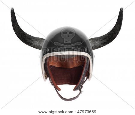 Retro motorcycle helmet with bull long horns and skull with crossbones.