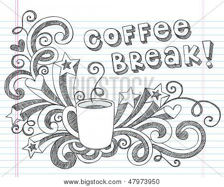 Coffee Mug Back to School Sketchy Notebook Doodles with Lettering, Shooting Stars, and Coffee Tea Cup- Hand-Drawn Illustration Design Elements on Lined Sketchbook Paper Background