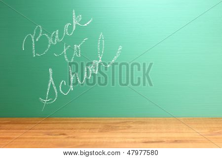 Teacher Chalkboard with Handwriting Back to School with Copy Space