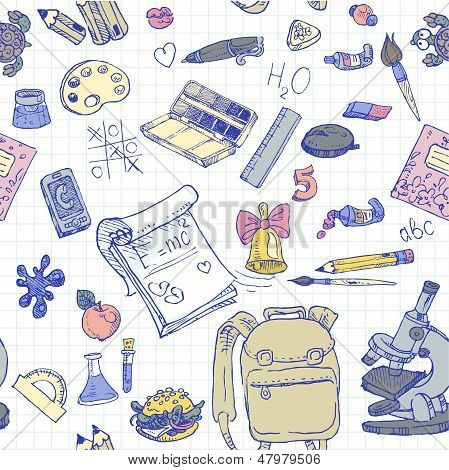 Back To School Color Doodles Seamless Background