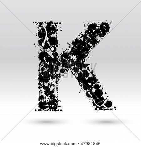 Letter K Formed By Inkblots