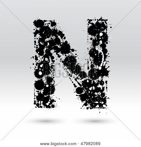 Letter N Formed By Inkblots