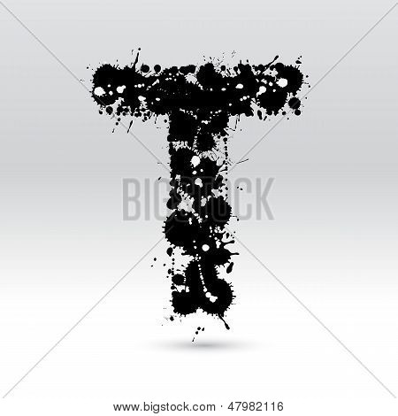 Letter T Formed By Inkblots