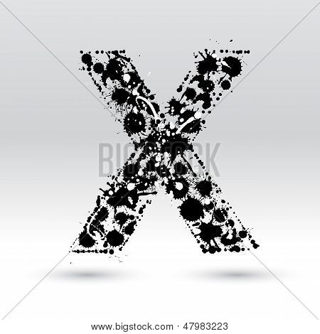 Letter X Formed By Inkblots
