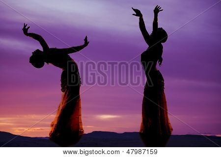 Belly Dancer Purple Silhouette Two