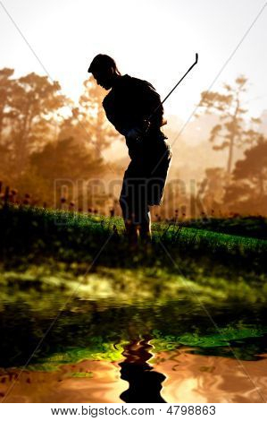 Silouette Of A Golf Player