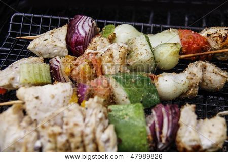 Chicken Kabobs on the Grill - Closeup