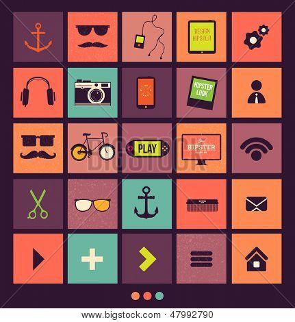 Vintage Icons Set. Retro backgrounds