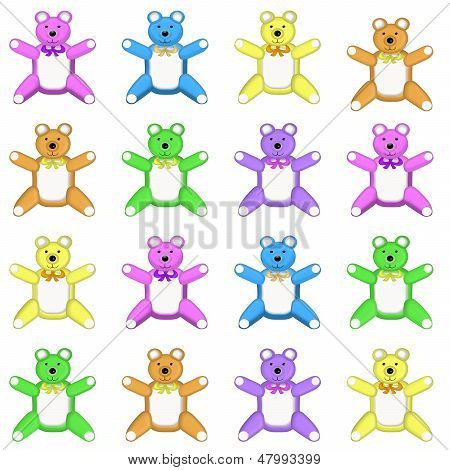 Medium Multi Colored Teddy Bear Pattern