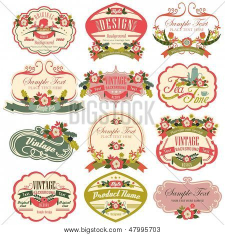 vintage labels with flower