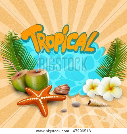 tropical banner with seashells, starfish
