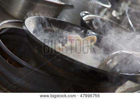Cooking Asian Stir Fry In Wok