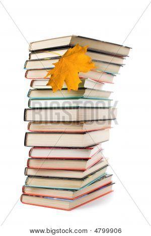 Aislado de la gran pila de libros y hojas de otoño