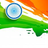 stock photo of indian flag  - paint style indian flag design - JPG
