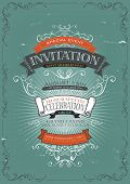 foto of exposition  - Illustration of a vintage invitation placard poster background for holidays and special events with sketched banners floral patterns ribbons text design elements and grunge texture - JPG