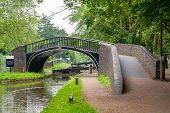 stock photo of isis  - Bridge on the Oxford Canal and Isis Lock - JPG