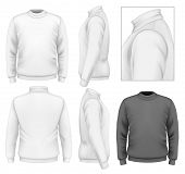 Photo-realistic vector illustration. Men's sweater design template (front view, back view, side view