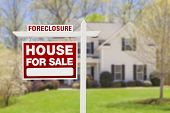 Red Foreclosure Home For Sale Real Estate Sign in Front of House.