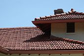 Adobe building red tile roof