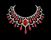 stock photo of precious stones  - illustration of a Golden necklace female with red precious stones - JPG
