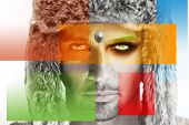 picture of superimpose  - Conceptual fashion portrait of a male model in fur hat with colorful squares in primary colors superimposed - JPG