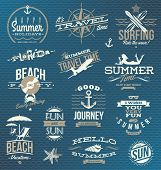 stock photo of anchor  - Vector set of travel and vacation emblems and symbols - JPG