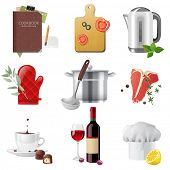 stock photo of ladle  - 9 highly detailed cooking icons set - JPG