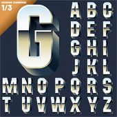 stock photo of condensation  - Vector alphabet of simple 3d letters - JPG