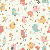 Cute seamless pattern with small birds and flowers. Spring vector background in pastel colors. Seaml