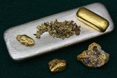 stock photo of gold nugget  - Silver bullion bar - JPG